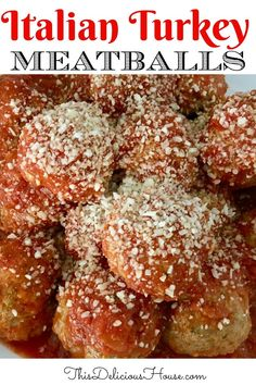Guaranteed the BEST Turkey Meatballs you've ever had, these delicious and moist meatballs are great for appetizers, or on top of a big bowl of spaghetti! Italian Turkey Meatballs, Tasty Meatballs, Cheap Meals, Easy Meals, Easy Holiday Recipes, Dinner Recipes, Christmas Recipes, Dinner Dishes, Main Dishes