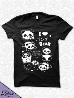 I Love Panda Bear Ponya T-Shirt by LokisaFashion on Etsy