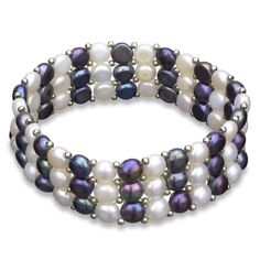 """3-row 6-6.5mm Dyed Multi-dark Freshwater Cultured Pearl Stretch Bracelet, 7"""" -- Read more at the image link."""