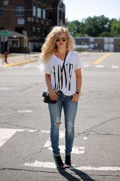 """Feel the """"love"""" for this look from @Andrea Kerbuski Graphic tee + ripped jeans + great pair of heels = perfect in my book."""