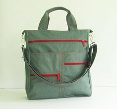 Sale - Grey Water-Resistant Nylon Bag, tote, shoulder bag, messenger, school bag - Melissa $44