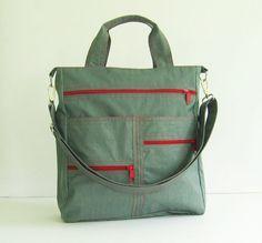 Sale  Grey Water-Resistant Nylon Bag tote handbag by tippythai