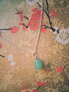 Teal Tear Drop Bead & Silver Chain Necklace by KoreisKreations, $15.99