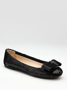 Prada Black Sequined Flats