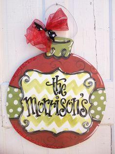 Burlap Christmas Ornament Door Hanger by AbracadoodleGifts on Etsy