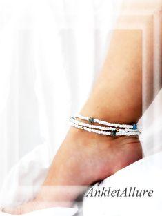 Elegant Gypsy Asian Triple Anklet Blue Cloisonne Gold Ankle Bracelet
