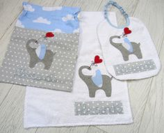 Set asilo con elefante Baby Applique, Embroidery Applique, Nappy Wallet, Textiles, Baby Furniture, Baby Decor, Baby Sewing, Needle And Thread, Burp Cloths