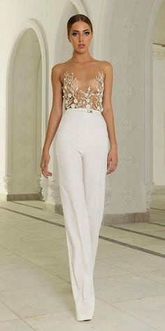 Modern Bridal Outfit: 18 Wedding Pantsuit Ideas ❤
