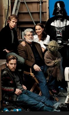 George Lucas, Natalie Portman, Ewan McGregor, Hayden Christensen, Yoda, and Darth Vader