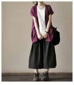 White /Purple / Black Loose Tops- Two Pocket Button Cotton Knitting Shirt Loose Blouse Women Clothing Look Fashion, Skirt Fashion, Korean Fashion, Fashion Dresses, Maxi Outfits, Casual Outfits, Casual Clothes, Casual Wear, Long Skirt Looks