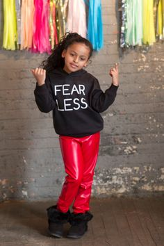 Unisex Faux Red Leather Jogger Sweatpants for Kids