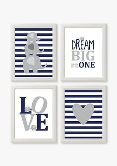 Dream big little one set of 4 Elephants Navy Blue Grey by Suselis