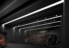 spaceworkers' design for the paredes municipal auditorium changes in scale to relate to both its audience and site. Auditorium Architecture, Theater Architecture, Black Architecture, Auditorium Design, Architecture Design, Hall Design, Church Design, Building Museum, Lecture Theatre