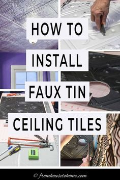 Learn how to install styrofoam faux tin ceiling tiles which add interest to your ceiling and can be used to cover imperfections (or popcorn ceilings). A great way to upgrade your room decor on a budget. #fromhousetohome #homedecor #roomdecor #ceilings #diydecorating #diyhomedecor