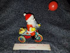 Vintage Tin Wind Up Santa on Bike W/Balloon Original Box by VintageBarnYard on Etsy