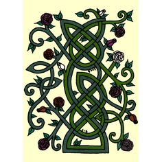 Celtic - with ivy leaves or thistles instead of roses.I think an awesome tattoo this would make! Minus the yellow background. Celtic Pride, Irish Celtic, Celtic Symbols, Celtic Art, Celtic Knots, Celtic Crosses, Celtic Dragon, Celtic Patterns, Celtic Designs