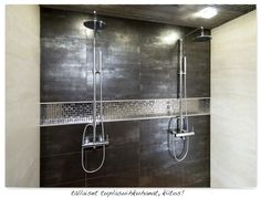 Amazing! Double shower, high shine black and built-in shelf