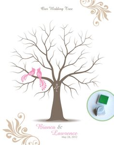 Stamp Me Wedding Tree Guest Book Poster with Hand Carved Leaf Stamp & Ink Pad, Personalized Wedding Tree w/ Peacocks, 16x20