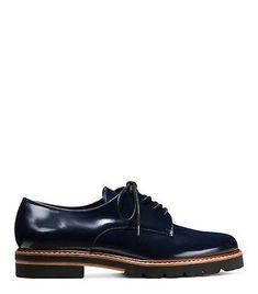 STUART-WEITZMAN-Metro-Lapis-Navy-Blue-Glossy-Leather-Lace-Up-Oxfords-7-5-37-5