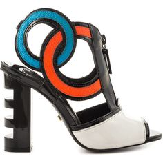 Kat Maconie Women's Heidi - Red Blue Blk Wht ($285) ❤ liked on Polyvore featuring shoes, multicolor shoes, blue shoes, high heel shoes, red blue shoes and geometric shoes