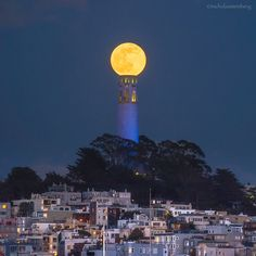"Nicholas Steinberg Photography with Dan Kurtzman Photography and NIck Steinberg.   ""Once in a Blue Moon""......... May 2016  Last night's blue moon over Coit Tower in San Francisco.  This is a single shot. No photoshop trickery."
