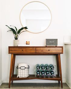 Minimal Entryway Design with the West Elm Mid-Century Console styled by Nastazsa #mywestelm @westelm