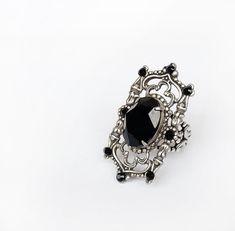Gothic Ring with Black Swarovski Crystal on Oxidized Silver Filigree…