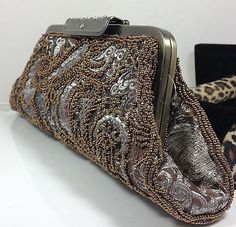 New Victorian antiqued Brass-Colored Satin Beaded clutch Evening Wedding Bag