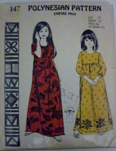 Polynesian Pattern 147 Girls Empire Muu Muu Pattern by Denisecraft