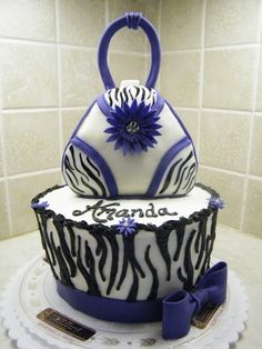 "purple cheetah print | purse carved from 6"" round, covered in MMF with fondant details and ..."