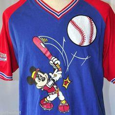 Disney Athletics Mickey Inc Large Baseball Vneck Jersey | Disneyland Vintage Mickey Mouse