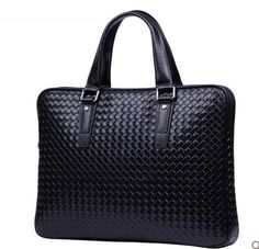 Woven Black Genuine Leather Mens High End Briefcase | www.pilaeo.com #men's #luxury #expert