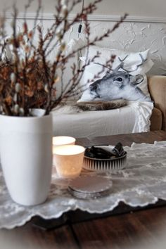 Winter interior - love the natural foliage and candles. Interiors, Candles, Warm, Natural, Tableware, Winter, House, Winter Time, Dinnerware