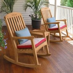 The ample Linden teak rocking chair is designed for extra relaxation with a generously wide seat and a long raked back. Rocking Chair Plans, Wooden Rocking Chairs, Rocking Chair Porch, Outdoor Rocking Chairs, Diy Chair, Adirondack Chairs, Wooden Chairs, Balcony Table And Chairs, Woodworking Furniture