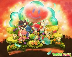 Yoshis at the Super Happy Tree Super Mario Smash Bros, Super Mario Art, Mario Bros, Mario Brothers, Metroid, Yoshi, Video Game Art, Video Games, Pokemon