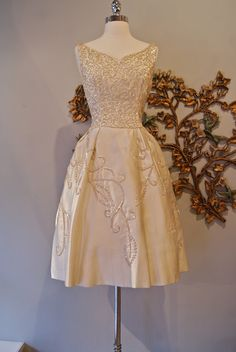 1950's Pearly Satin Dress By Emma Domb