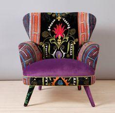 Suzani armchair - purple love, handmade. Materials: beech wood construction, Suzani fabrics, Thai Hmong fabrics, trim, foam rubber, velvet  |  namedeesignstudio, Istanbul, Turkey  | etsy.com