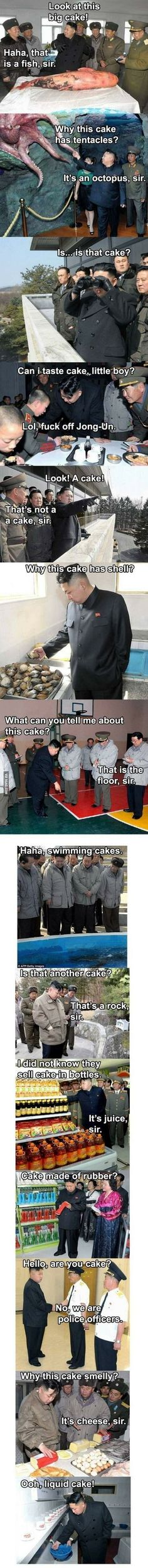 "Kim Jong Un explores the world (WTF IS THIS AND WHY IS IT SO FUNNY?!?) ""what can you tell me about this cake?"" ""that is the floor, sir"""
