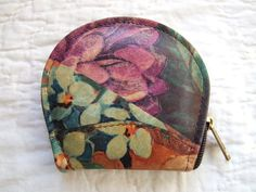 Leather Change Purse Vintage Floral Coin Purse by RedsThreadsVintage, $14.00