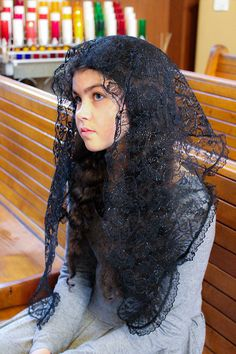 This church mantilla in black is very comfortable, very light and airy, yet it offers very good coverage, it is sure to become your favorite! Very elegant and classic, it drapes beautifully in gentle waves in the back. Wonderful choice for Sunday Mass and all important occasions! It