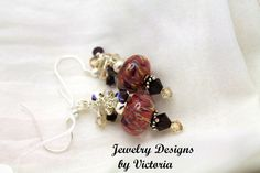 Sterling Silver  Lampwork EarringsOOAK by fa2756 on Etsy, $19.99