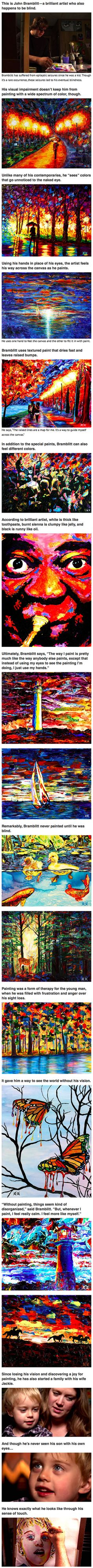 Blind artist uses his sense of touch to create beautifully colorful paintings.