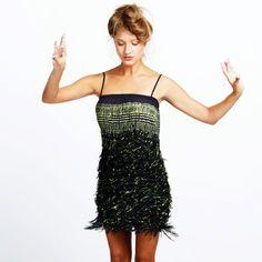 Fringed dress, hand printed Black and Neon primitive original motif by Dikla Levsky