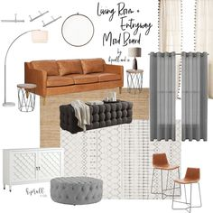 Living Room + Entryway Mood Board Design from HPrallandCo.com