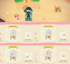 — Made some pastel seashells to place around in the. Animal Crossing Wild World, Animal Crossing Guide, Animal Crossing Qr Codes Clothes, Animal Games, My Animal, Path Design, Sign Design, Ac New Leaf, Motifs Animal