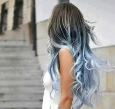 Dark Brown & Light Blue Lavender Mix Dip Dye Hair * From Colour Your World Custom Made 10pc Set