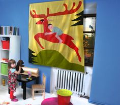 Curtain for Kids  Little boy and his Deer colorful by dgmart
