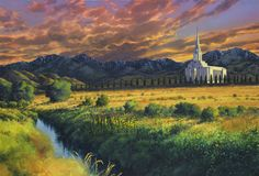 Dedicated on August 21, 2009, the Oquirrh Mountain Utah Temple is the 130th operating LDS temple in the world and the fourth temple in the Salt Lake Valley. It is a beautiful, modern structure, but this painting depicts how it is surrounded by and thereby dependent on the pioneer heritage that developed the land. Utah Temples, Lds Temples, Watercolor Sunset, August 21, Mountain Paintings, House Goals, Sunsets, Salt, Mountains