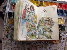 Numbers 165 and 166 of Kenneth Rocafort's 365 day sketch project (2014).
