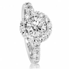 Christopher Designs Large Diamond Halo Engagement Ring